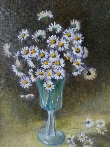 Tableau, huile sur toile, bouquet de fleurs