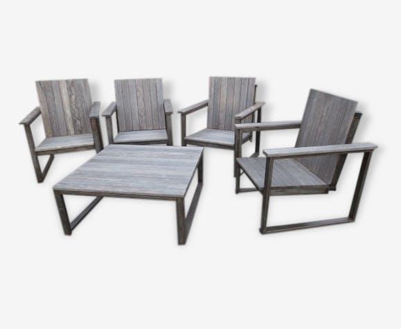 Salon de jardin métal & bois - bois (Matériau) - classique ...