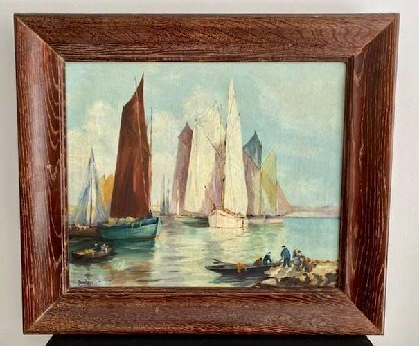 Tableau ancien, voiliers à l'entrée du port, signé années 60