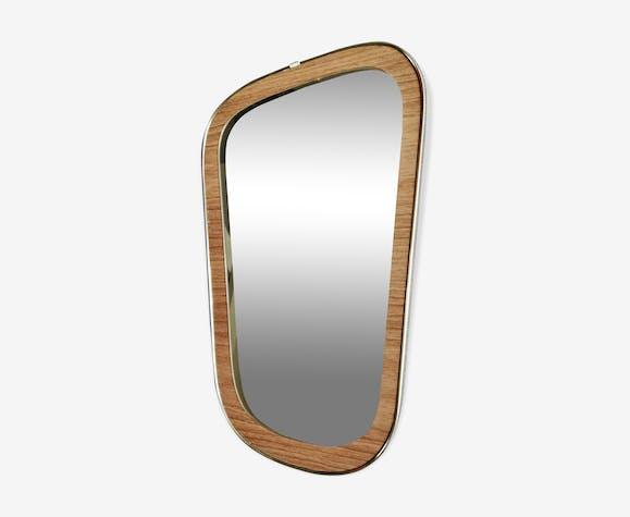 Miroir bois teck forme libre asymétrique moderniste 50/60 - 44x22cm