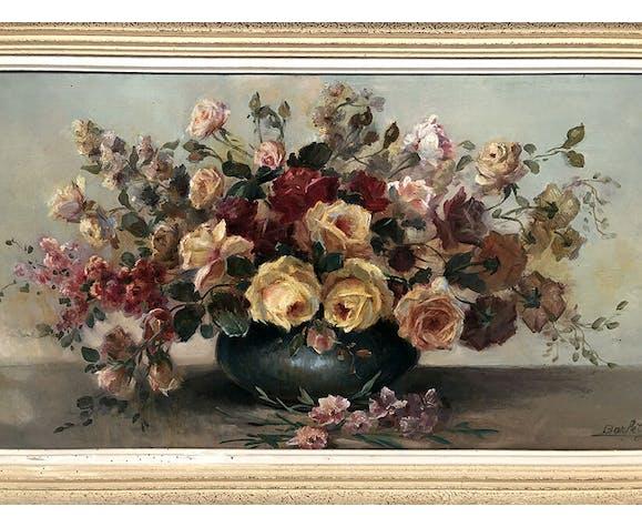 Huile sur toile, bouquet de fleurs vers 1900