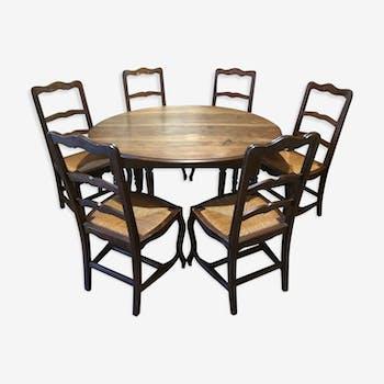 Table salle à manger 1930-40 et ses 6 chaises