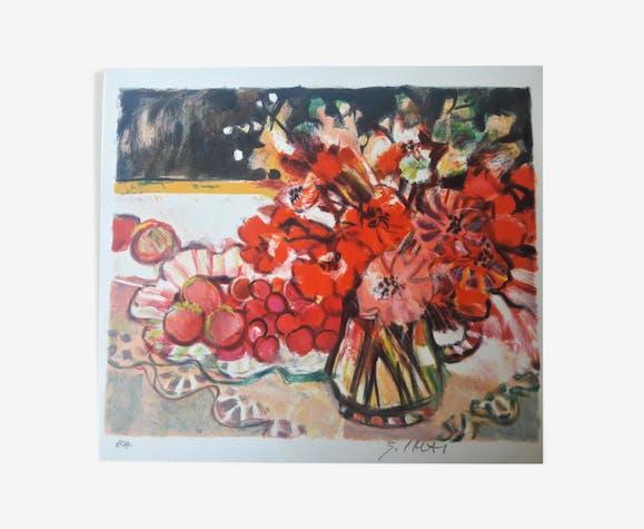 """Red Flowers"" Sachiko Ima, signed"