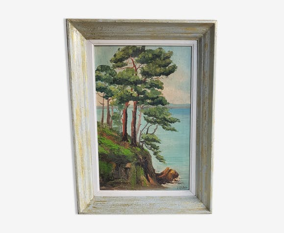 Table oil on canvas framed landscape sea