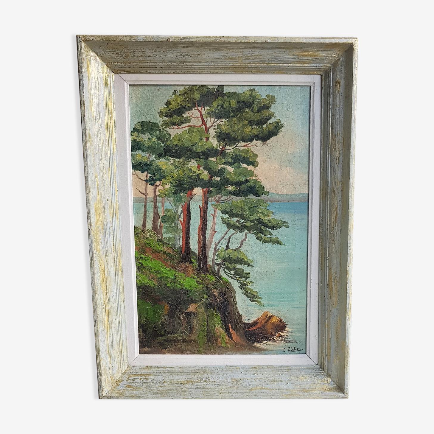 Tableau huile sur toile encadrée paysage bord de mer