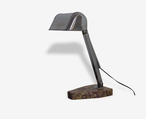 Lampe De Bureau Notaire Avocat Art Deco Metal Argent