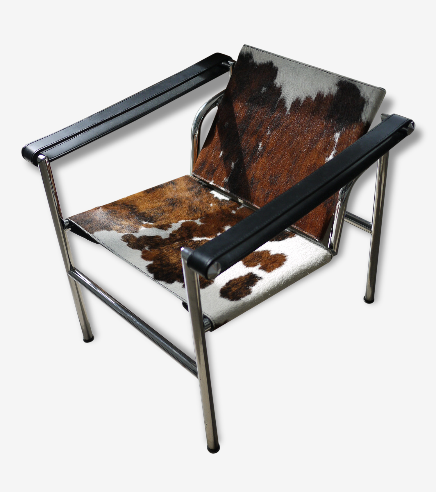 Chaise Lc1 reproduction - chaise lc1 le corbusier - pony marron - skin - white