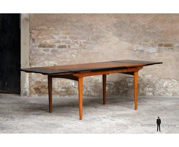 Table De Repas Scandinave Graphique En Teck Noir Rallonge Selency