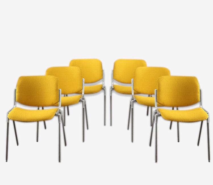 """Suite de 6 chaises """"DSC 106"""" de Giancarlo Piretti édition Castelli"""