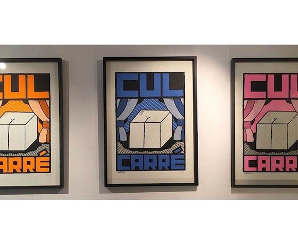 """Affiche """"Cul Carré"""" verte 70x50 cm sérigraphie faite main signée numérotée"""