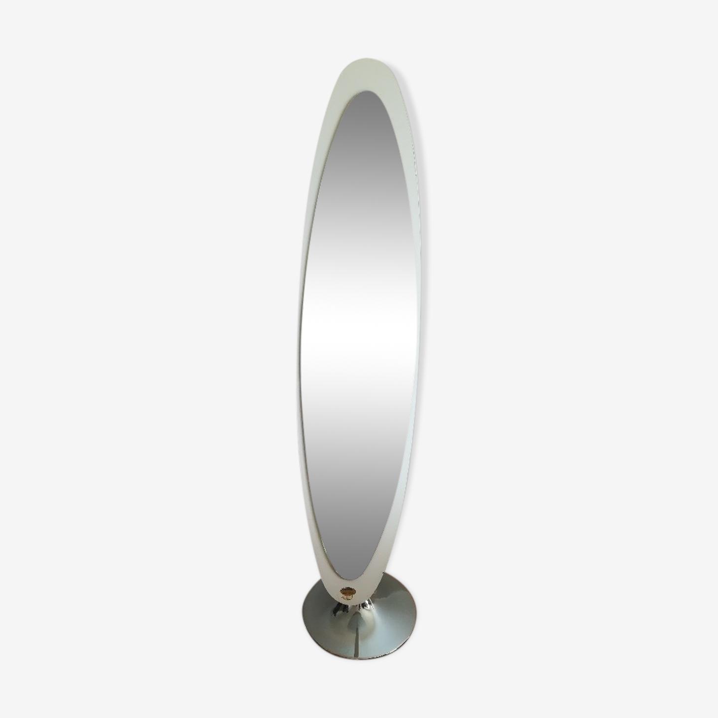 Miroir sur pied ovale Jelem années 60 70
