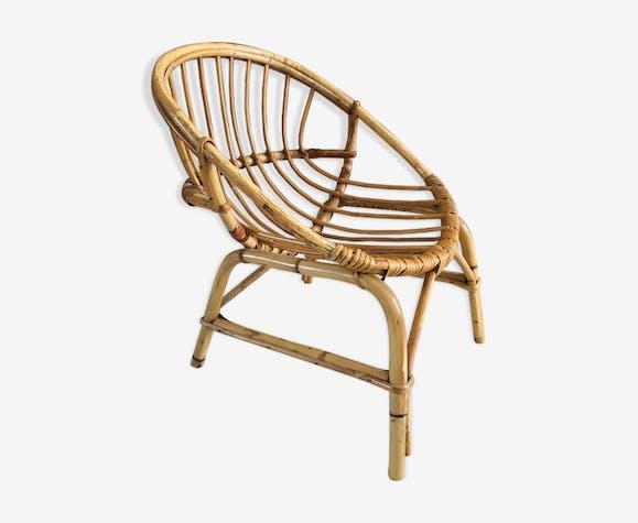 Child basket armchair in rattan years 70