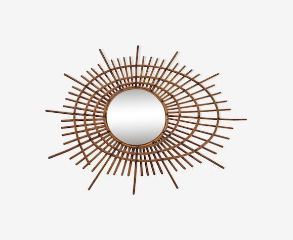 Miroir soleil en rotin de forme originale circa 1960 72cmx60 cm