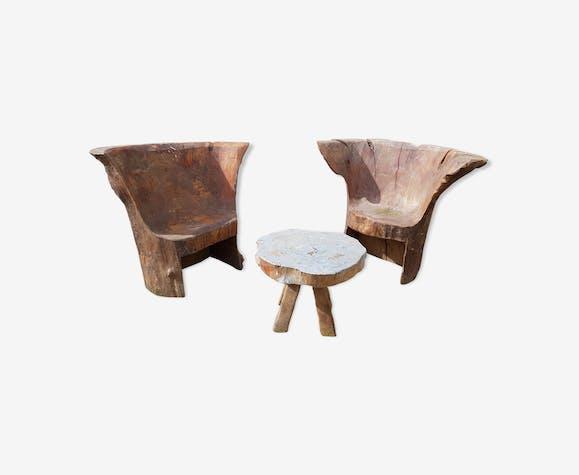 Salon de jardin deux fauteuils en souche et table basse - bois ...