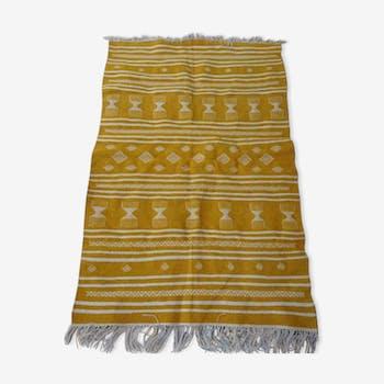 Tapis kilim jaune et blanc 143x93cm