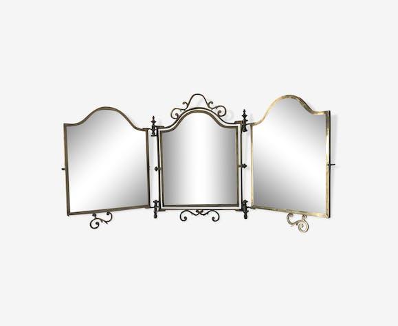 Miroir triptyque barbier laiton 1920 - 35x60cm
