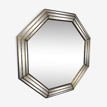 Octagonal gilded wooden mirror 66x66cm