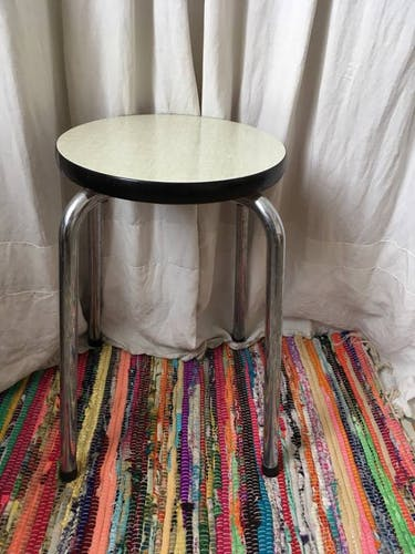 Stool vintage gray formica round