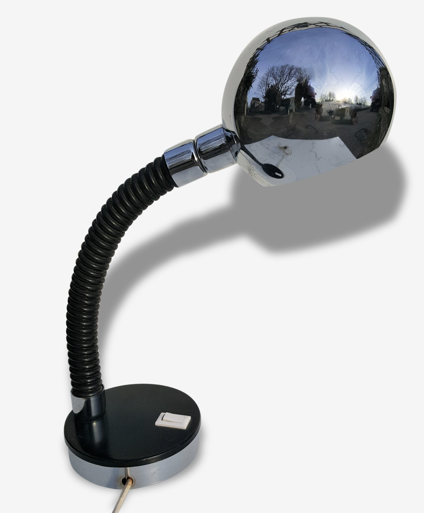 Lampe De Bureau A Poser Flexible A Boule Inox Annees 70 Metal