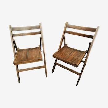 Paire de chaises pliantes anciennes