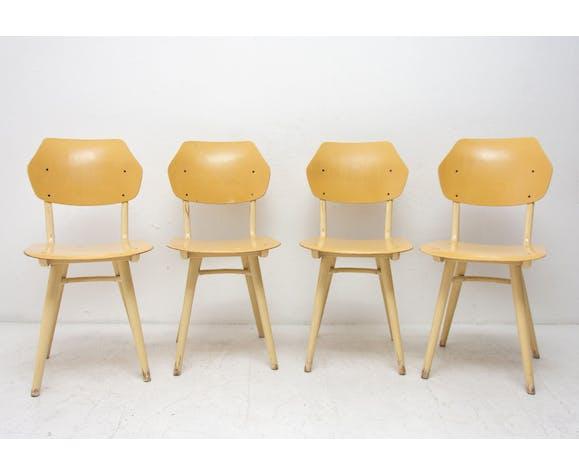 Chaises à manger du milieu du siècle Ton, ensemble de quatre, 1960