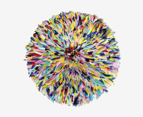 Juju hat multicolores en plumes fait main 80 cm