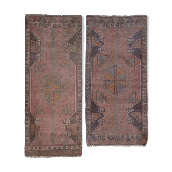 Turkish Anatolian Scatter Rugs, 1970s, Set of 2 46 x 110 - 48 x 98 cm