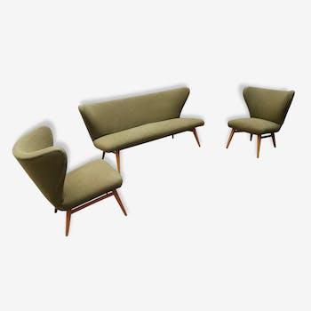 Set Canapé sofa et 2 fauteuils cocktail années 50 sculptural