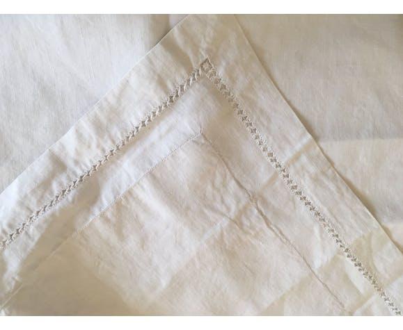 Taie d'oreiller de trousseau de noces en fil de lin 19e brodée B