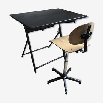 ensemble bureau et chaise ann es 50 m tal gris industriel ikka9f8. Black Bedroom Furniture Sets. Home Design Ideas