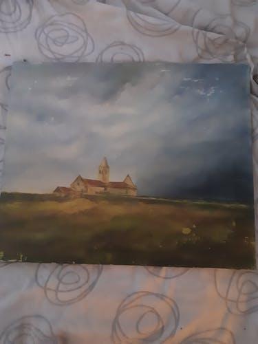 Tableau peinture à l'huile paysage signer