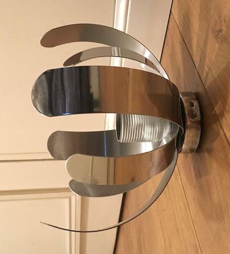 Applique ou plafonnier en métal chromé Jocelyne Trocmé pour oxar vers 1970