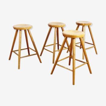 Suite of 4 vintage wooden stools