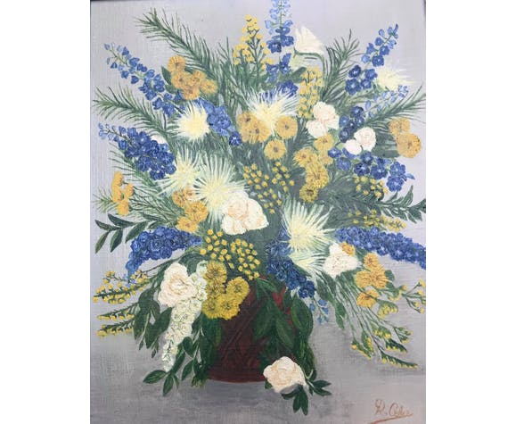Acrylic painting framed bouquet of flowers frame wood shabby chic art wall gift mom nature nature deco romantic nature yellow blue