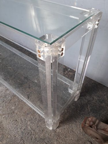 Console verre et plexiglas époque 1970
