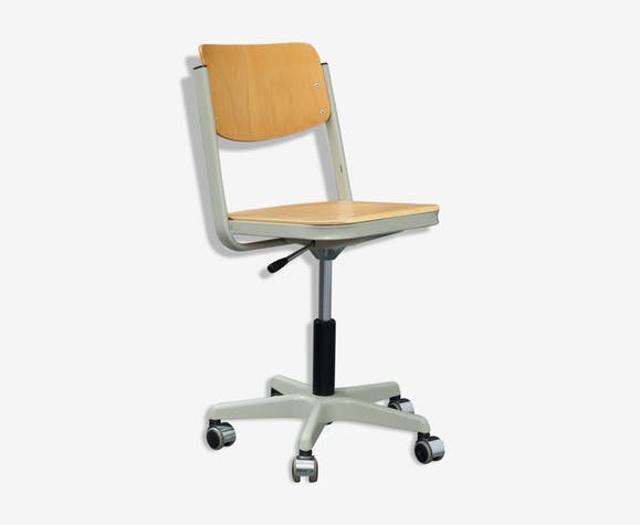 Chaise de bureau travail vintage bois et métal bois matériau