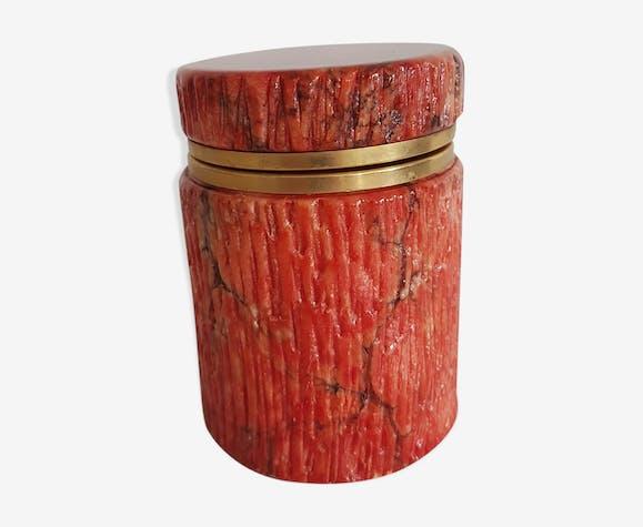 Boîte à bijoux en albâtre couleur corail