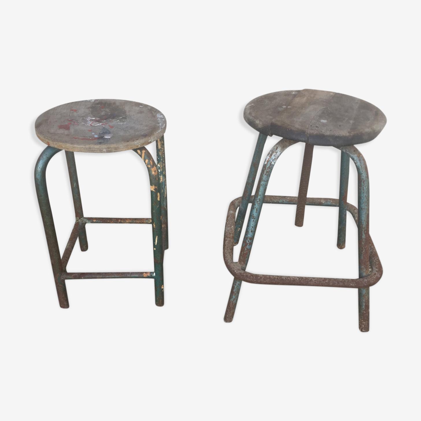 2 old STOOLS of workshop industrial years 50/60