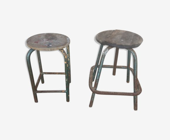 2 old STOOLS of workshop industrial years 50/60