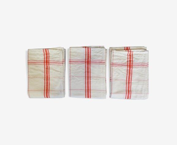 Lot de 3 torchons anciens liteaux croisés de couleur rouge
