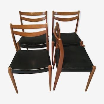 Suite de 4 chaises scandinave teck palissandre skai simili cuir 1960