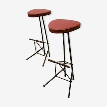 Set of 2 stools bar by Willy Van Der Meeren 1956