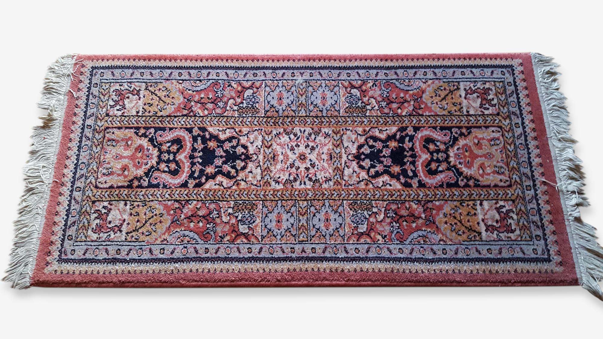 Joli Petit Tapis Rectangulaire Laine Coton Bleu Classique 160875
