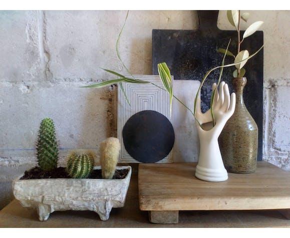Main soliflore-baguier céramique vintage