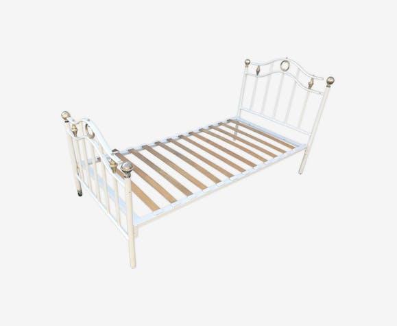 Ancien lit métal blanc & doré