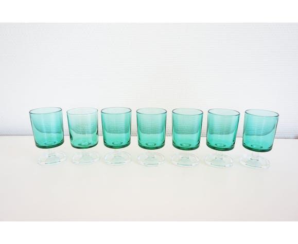 Lot of 7 vintage Luminarc liqueur glasses 1970