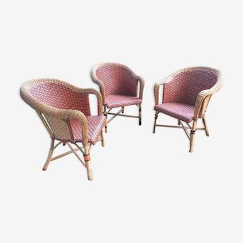 Lot de 3 fauteuils en rotin tressé