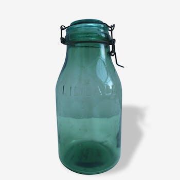 Ancien années 1950 bocal LIDEALE 1,5 LITRE Couleur vert