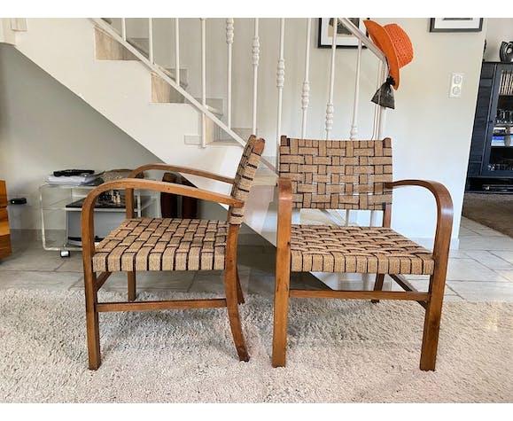 Paire de fauteuils de brise hêtre et corde 1950