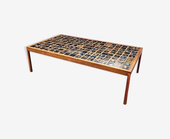 Table basse mid-century en teck et céramique Danemark 1960s